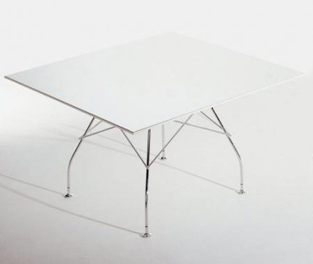 y living kartell glossy table white laminate metal legs base